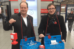 Conservative poppy sellers at Wimbledon station (left to right: Stephen Hammond MP and Cllr Daniel Holden.